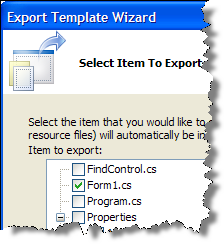 Export Template Wizard Select Item to Export