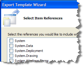 Export Template Wizard Select Item References