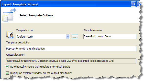 Export Template Wizard Select Template Options